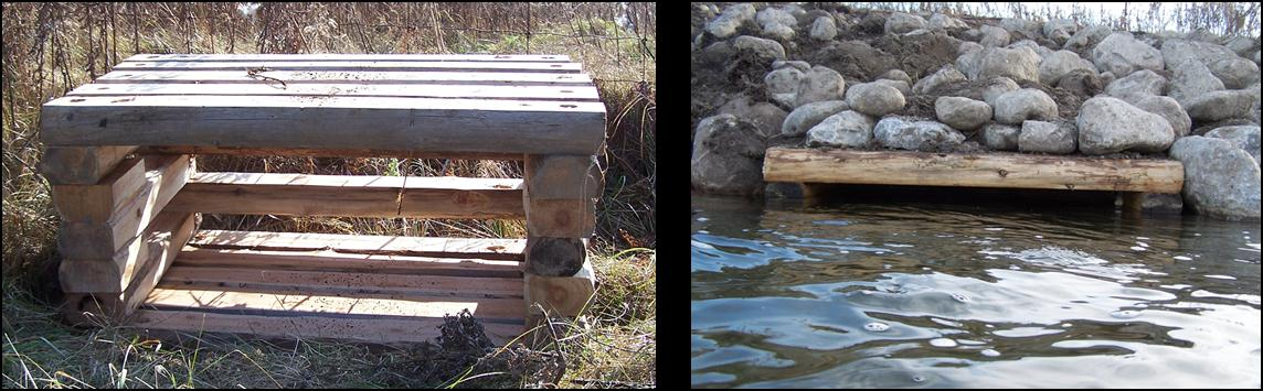 Figure 2. L.U.N.K.E.R.S. placed instream to create habitat for Atlantic Salmon and other coldwater fish species in Cobourg Brook (left);  L.U.N.K.E.R.S. with boulders on top to hold it in place (right).