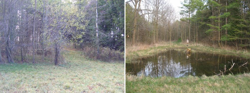 Figure 2: Wetland area prior to construction in November 2009 (left) and after construction in March 2012.