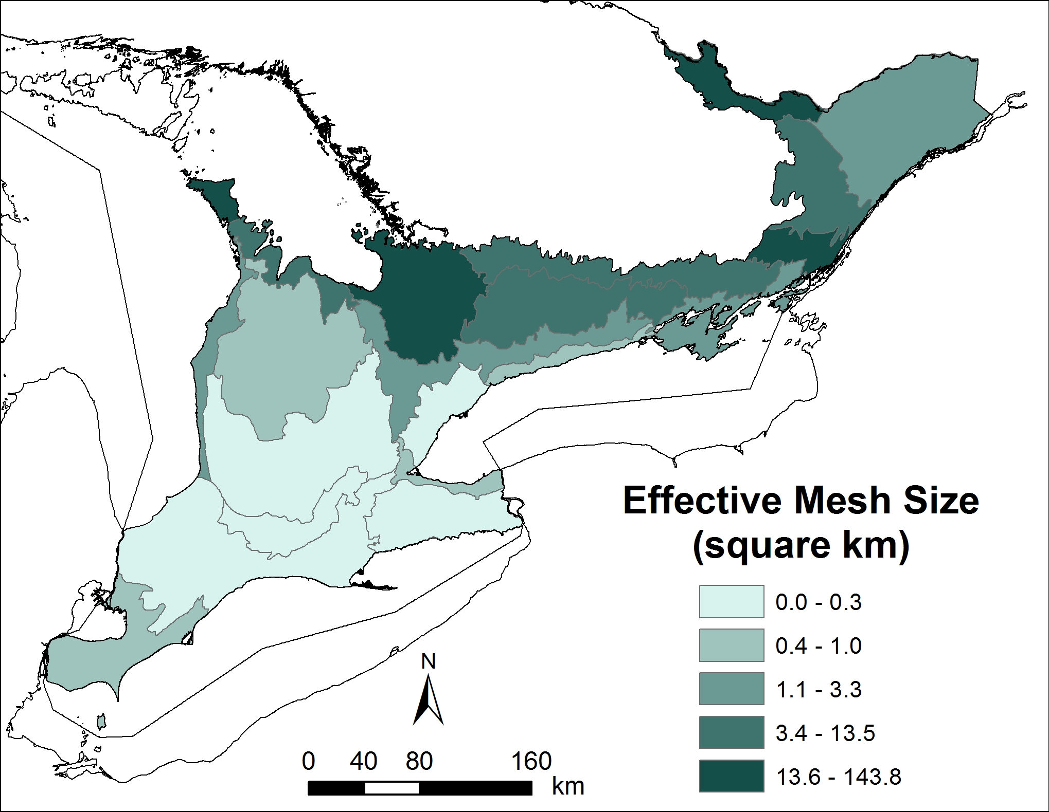 Figure 1: Effective Mesh Size for ecodistricts in southern Ontario (2011).