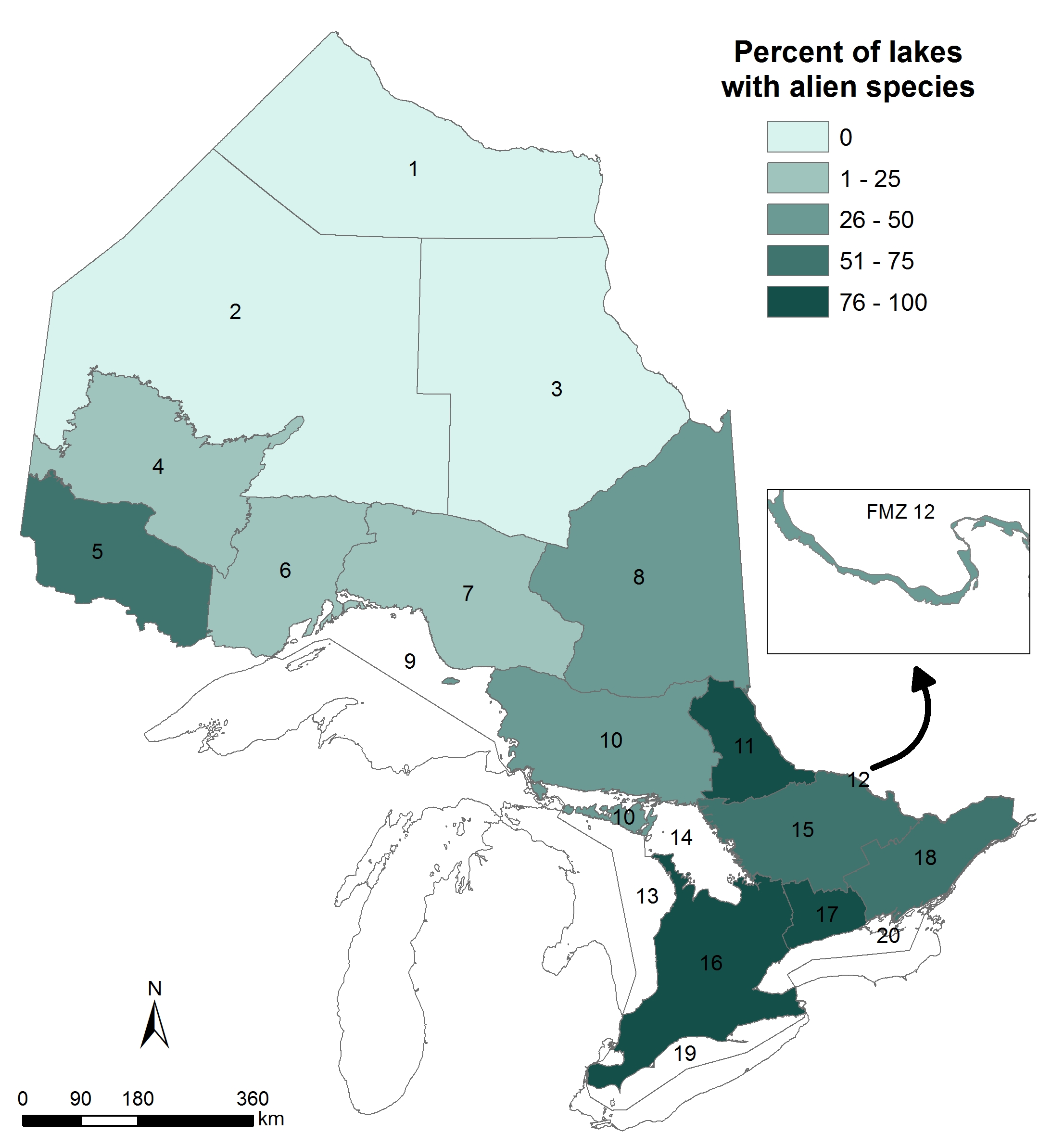 his is amp of Ontario showing the percentage of lakes in each of Ontario's Fisheries Management Zones with alien species detection in the Br0ad-scale Monitoring between 2008 and 2012. The percentage of lakes with alien species detections was highest (76-100%) in Fisheries Management Zones 11, 16 and 17 in southwestern and central Ontario. None of the lakes sampled in Fisheries Management Zones 1-3 in the Far North had alien species detections,