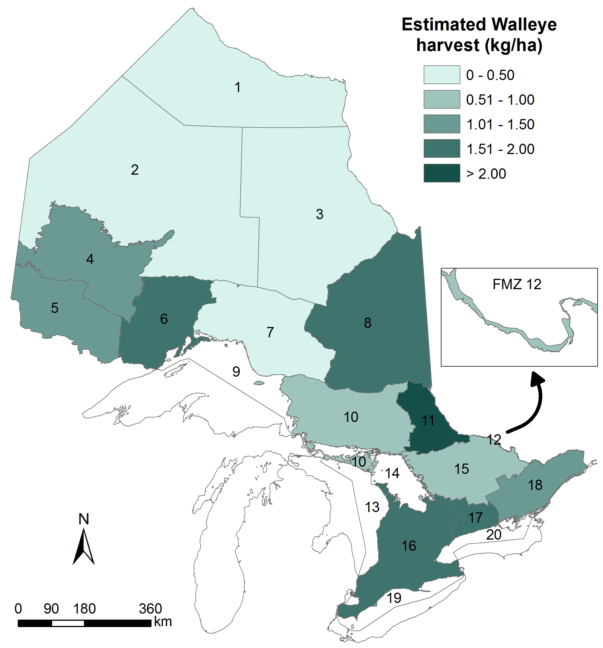This is a map of Ontario showing the estimated level of Walleye harvest in each inland Fisheries Management Zone based on the 2010 Canadian Recreational Fishing Survey. Estimated levels of harvest are highest in Fisheries Management Zone 11 in central Ontario (> 2. 0 kg/hectare) and levels are lowest in the three Fisheries Management Zones in the Far North (0.5 kg/hectare).